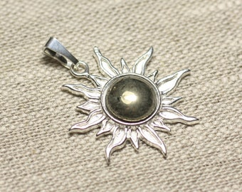 Pendant 925 sterling silver and stone - Sun 28 mm - Golden Pyrite 10mm round