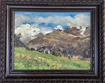 Vintage Oil Painting Champoluc Agosta Mountain Landscape Artist Board.