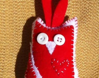 red and white felt plush owl ornament