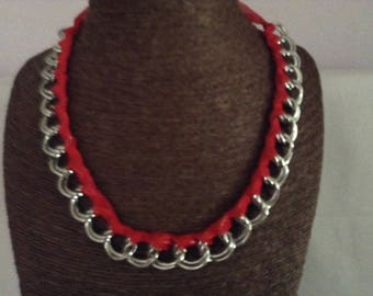 double necklace silver chain links and Red Ribbon