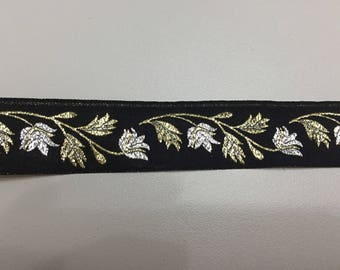 Sewing Ribbon black and gold flowers
