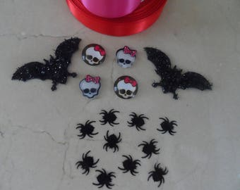 Monster High Halloween cabochons making Kit, spider, bat mouse, ribbons