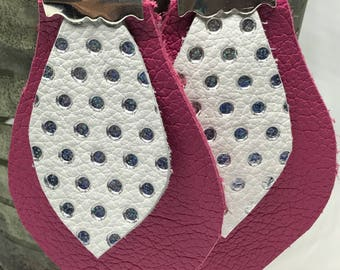 Pink Leather Earings with silver and white polka dots