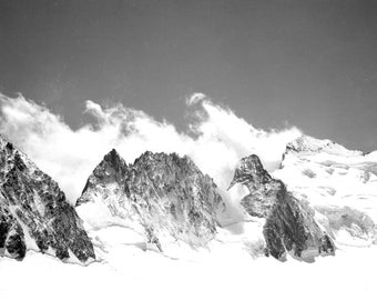 Landscape of mountains Alpine snow - fine art print from negative photo old Deb 20th