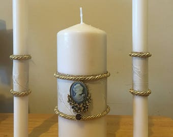 Ivory and champagne and gold unity candle