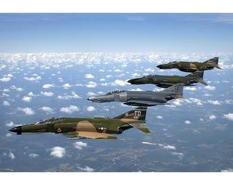 F4 Phantom II Formation - Military Jet Photo - Plane Poster Print - Wall Art