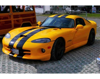 Black Striped Dodge Viper GTS   Car Poster Print   Sports Car Photo   Wall  Art