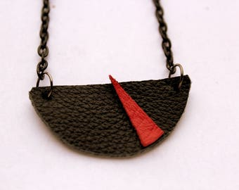 """Magena"" red and black leather necklace"