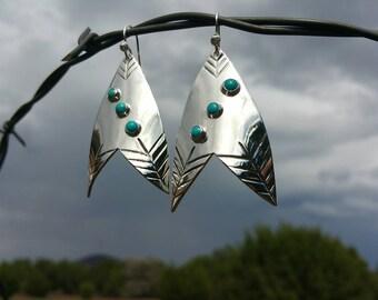 Chevron Arrowhead Earrings ~ Silver and Turquoise ~ Sleeping Beauty Turquoise ~ Big Earrings ~ Turquoise Earrings ~ Sterling Silver ~