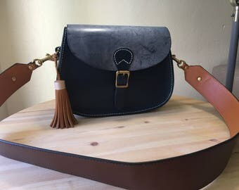Blue handmade leather saddle bag