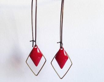Earrings - Diamond - Red