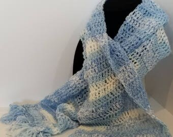 Blue variegated winter neck scarf w/ fringe