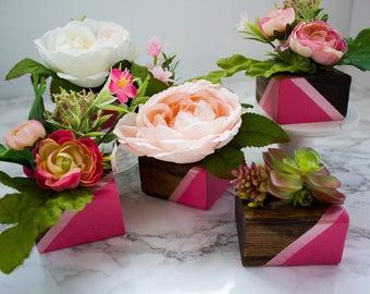 DIY Floral Decor Kit, Wooden Vase Floral Decor, DIY Craft Kit, Modern Floral Decor Kit, Boho Floral DIY Kit, Modern Bridal Shower Favor Kit