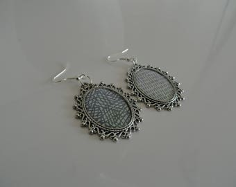 Earrings hook different cabochons graphic pattern