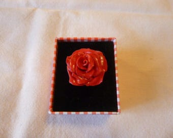 Red fimo rose Adjustable ring