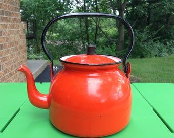 Orange Vintage Tin Enamelware Tea Pot Kettle