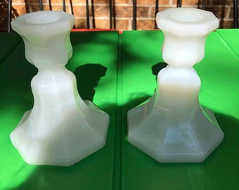 Vintage Mid Century/MCM Pair of Milk Glass Candle Holders