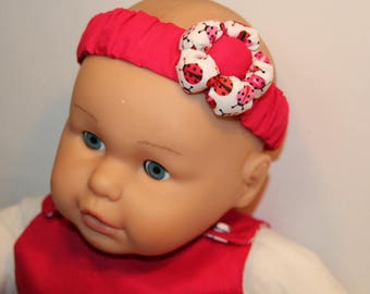 Headband or hot pink and white cotton headband