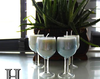 Set of 4 Cinnamon Stick scented soy wax candles in small vintage blue wine tasting glasses