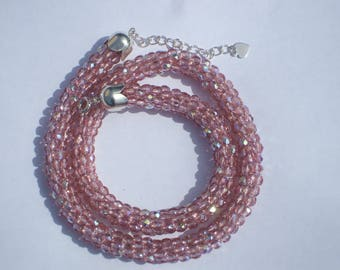 Crystal faceted bead spiral necklace