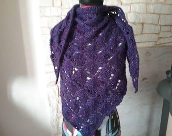 Dot and purple alpaca wool shawl fancy