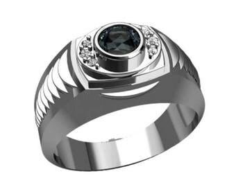 Round Cut Black Zircon Men's Ring Sterling Silver 925 SKU30167