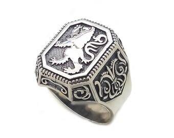 Game of Thrones Lion Heraldry Men's Ring Signet Sterling Silver 925 SKU km482