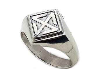 Gammadion Four Ray Sonnenrad Symbol Men Ring Sterling Solid Silver 925 SKU30351