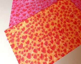 Set of two sheets of paper hearts