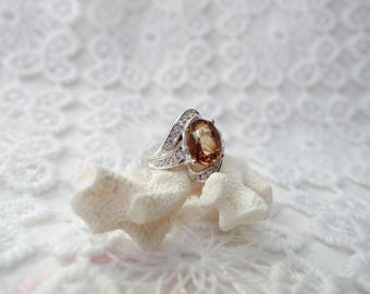 Silver Ring CHAMPAGNE and champagne Topaz T55