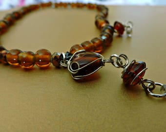 Handmade Amber Colored Glass Beaded Necklace