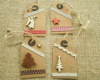 """Set of 4 gift tags are made hand different scenery """"theme Christmas"""""""