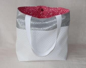 Faux white and silver handbag