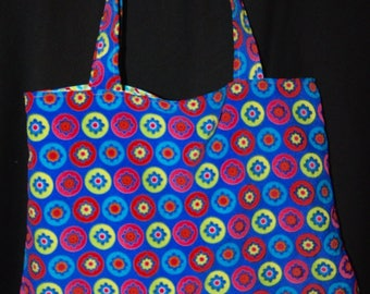Tote bag velvet thin sides with flowers