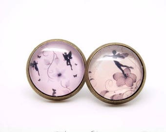 Fairies - fairy - pink - Cabochon studs earrings