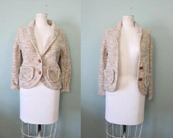 1970s Oatmeal Fleck Cardigan / Vintage 70s beige knit sweater