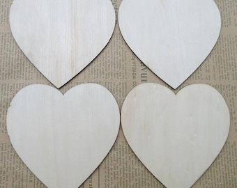 20 x hearts wooden - size 4cm
