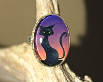 """Twilight black cat"" Gothic Halloween silver plated Adjustable ring"
