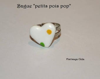 """White heart dot yellow and green """"Pea pop"""" ring"""