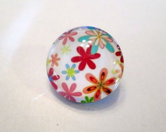 x 1 Snap button 18 mm - Fleur spring Nature - silver