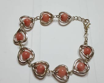 Bracelet hearts and 2 salmon pink jade beads