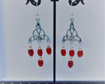 Beautiful red Celtic earrings