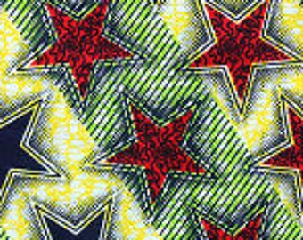 African Wax fabric with stars