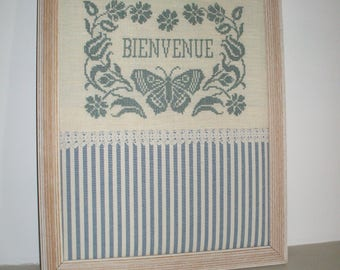 """Decoration with """"Welcome"""" cross stitch Embroidery"""