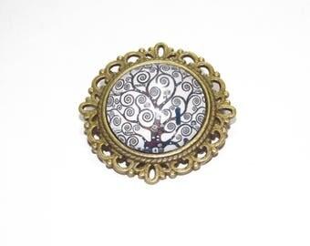 brooch * pinned * bronze * glass cabochon * 2 cm * klimt * tree of life