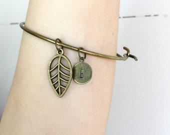 Intial Leaf Bracelet