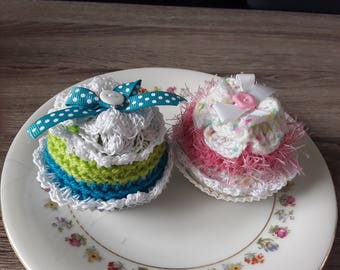 Set of two crochet cakes cupcakes