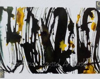 Abstract yellow black graf 2 watercolor