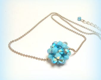 """""""Small ball turquoise Crystal"""" Swarovski Crystal Necklace"""