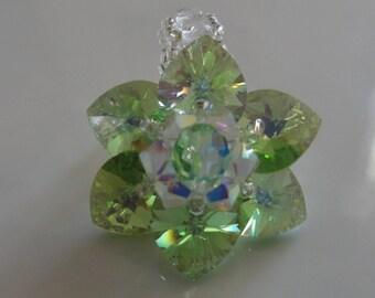 Ring Spring Green Swarovski Crystal beads
